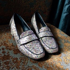 """ASOS - """"SPRINT"""" Heeled Glitter Loafers - Size US:5"""